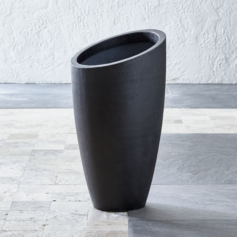 Slant Dark Gray Tall Planter Crate and Barrel