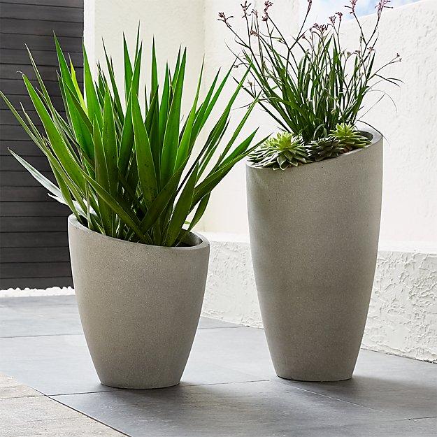 Slant Light Grey Planters - Image 1 of 12
