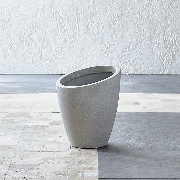 Slant Light Grey Short Planter