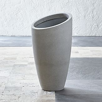 Slant Light Grey Tall Planter