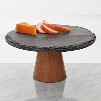 Slate and Wood Pedestal Server