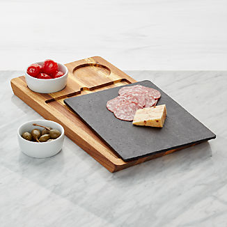 Slate and Wood Serving Board with Bowls