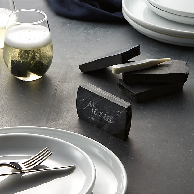 Slate Place Card Holders with Soapstone Chalk, Set of 4