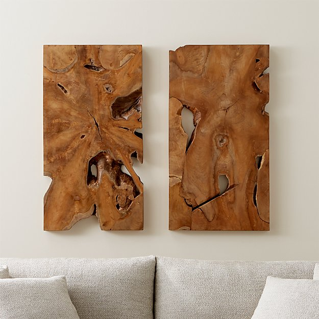Slice Teak Wall Art Set of Two + Reviews | Crate and Barrel