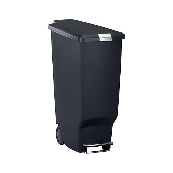simplehuman ® 10.5-Gallon Black Slim Step Trash Can