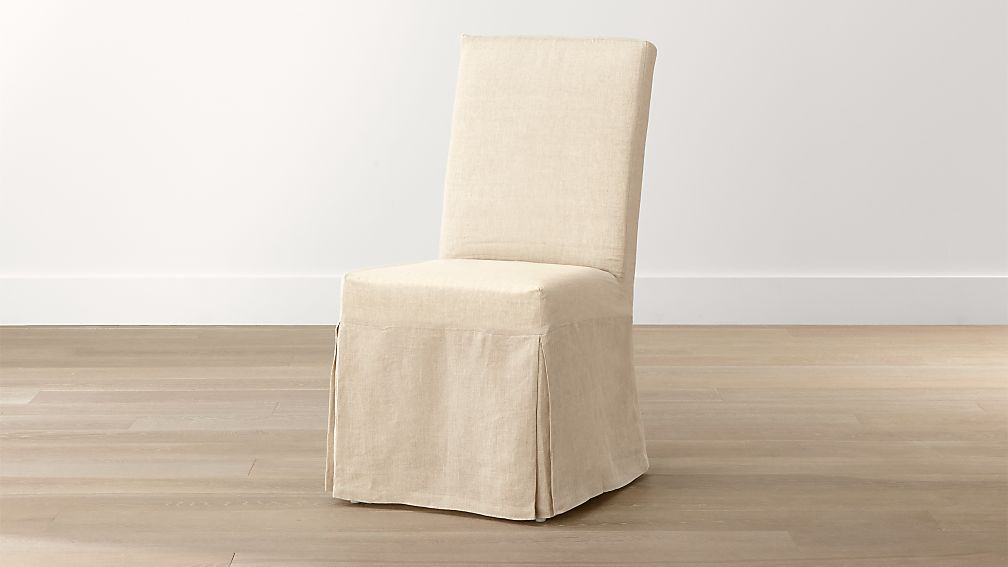 Dining Room Chair Loose Covers linen slipcover only for slip side chair + reviews | crate and barrel