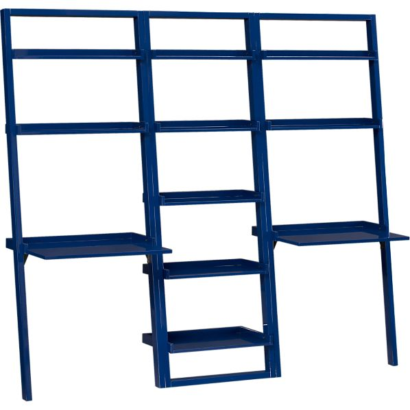 """Sloane Cobalt 25.5"""" Leaning Bookcase with 2 Leaning Desks"""