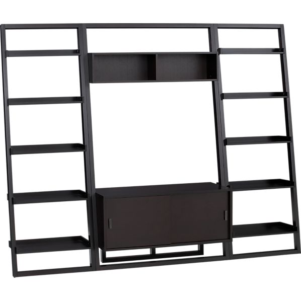 """Sloane Espresso 43.75"""" Leaning Media Stand with 2 25.5"""" Bookcases"""
