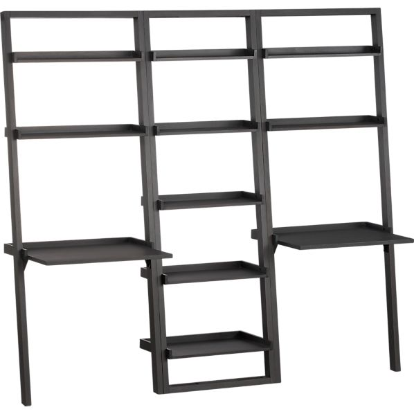 Sloane Grey Leaning Bookcase and 2 Desks Set