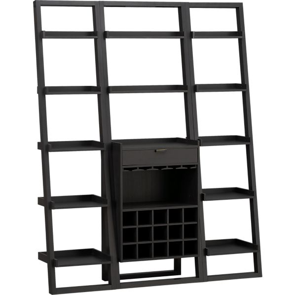 """Sloane Grey Leaning Bar with 2 18"""" Bookcases"""