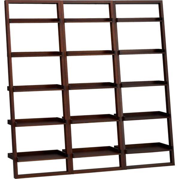 """Sloane Java 25.5"""" Leaning Bookcase Set of Three"""