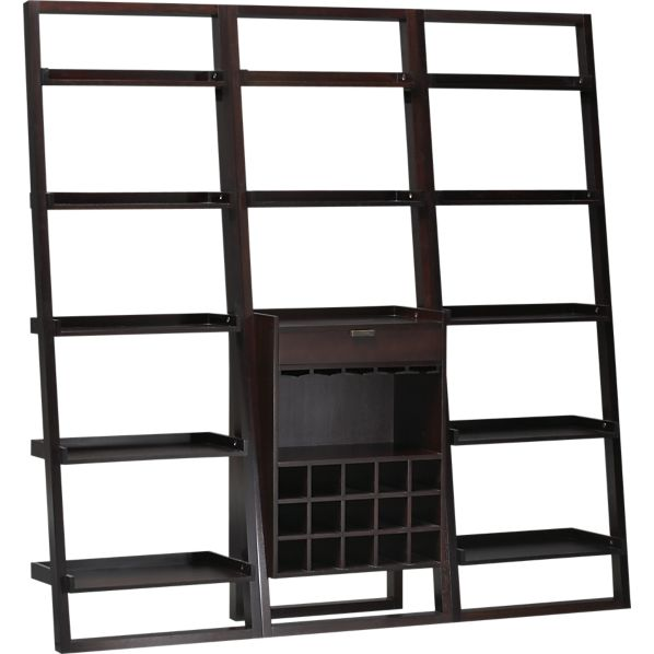 """Sloane Espresso Leaning Wine Bar with 2 25.5"""" Bookcases"""