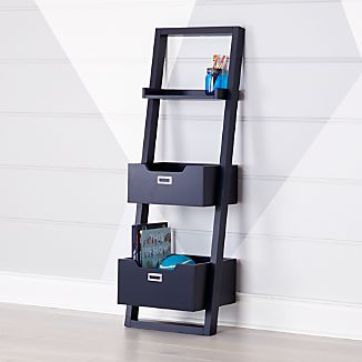 Midnight Blue Little Sloane Leaning Bookcase/Bins