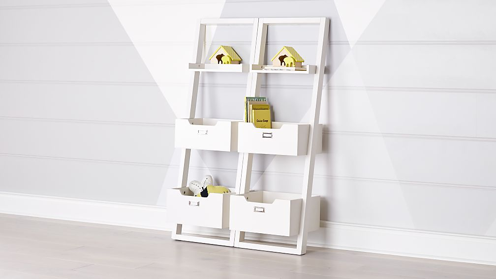White Little Sloane Leaning Bookcase Bins Reviews