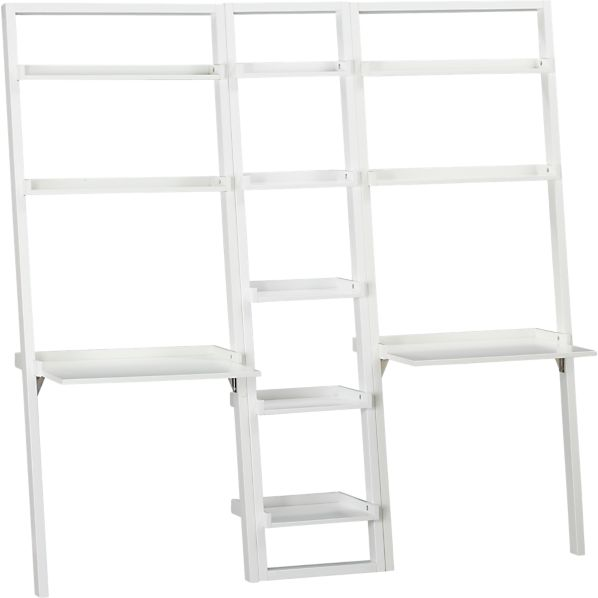 """Sloane White 18"""" Leaning Bookcase with 2 Desks"""