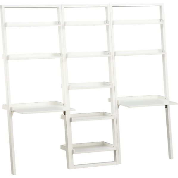 """Sloane White 25.5"""" Leaning Bookcase with 2 Desks"""