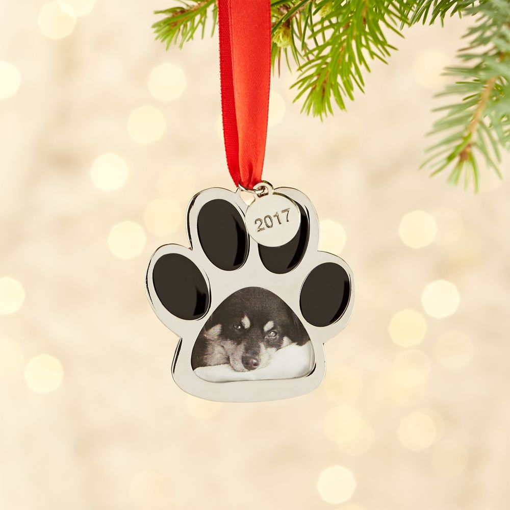 Silver Paw Print Photo Frame Ornament with 2017 Charm