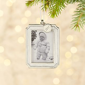 Silver Pearl Ornament Frame with 2017 Charm