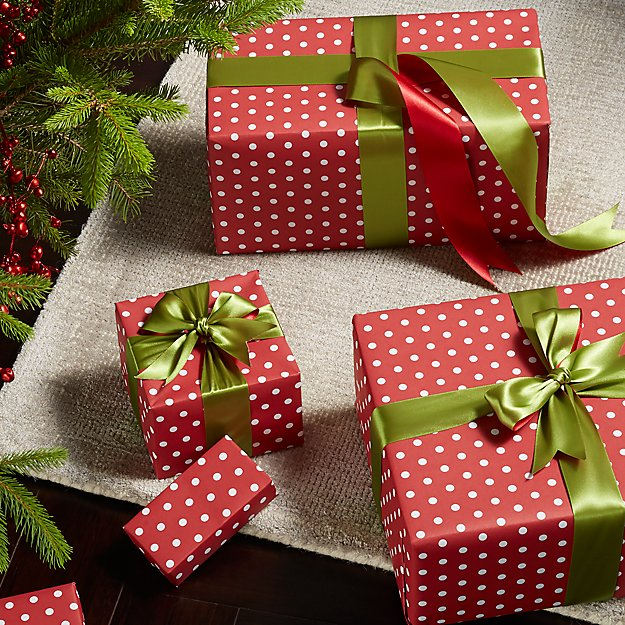 small dots red gift wrap reviews crate and barrel