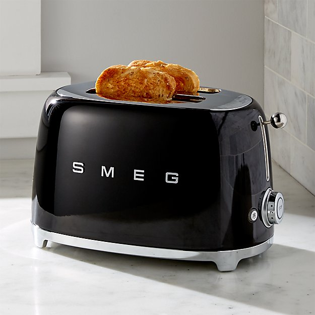 smeg black 2 slice retro toaster crate and barrel. Black Bedroom Furniture Sets. Home Design Ideas