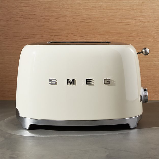 smeg cream 2 slice retro toaster crate and barrel. Black Bedroom Furniture Sets. Home Design Ideas