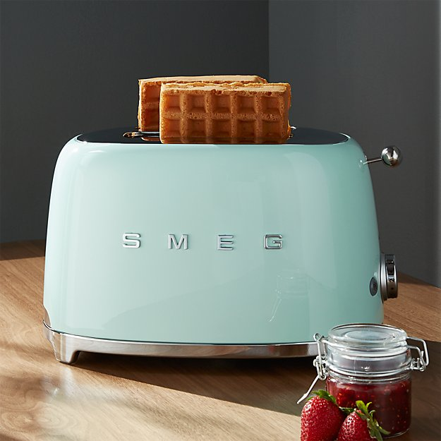 smeg pastel green 2 slice retro toaster crate and barrel. Black Bedroom Furniture Sets. Home Design Ideas