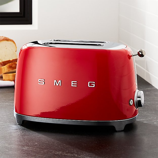 smeg red 2 slice retro toaster crate and barrel. Black Bedroom Furniture Sets. Home Design Ideas