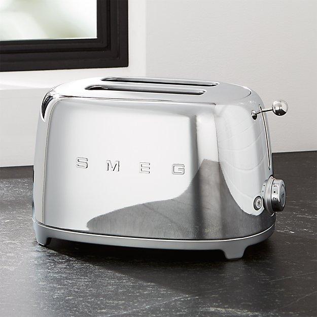 smeg silver 2 slice retro toaster crate and barrel. Black Bedroom Furniture Sets. Home Design Ideas