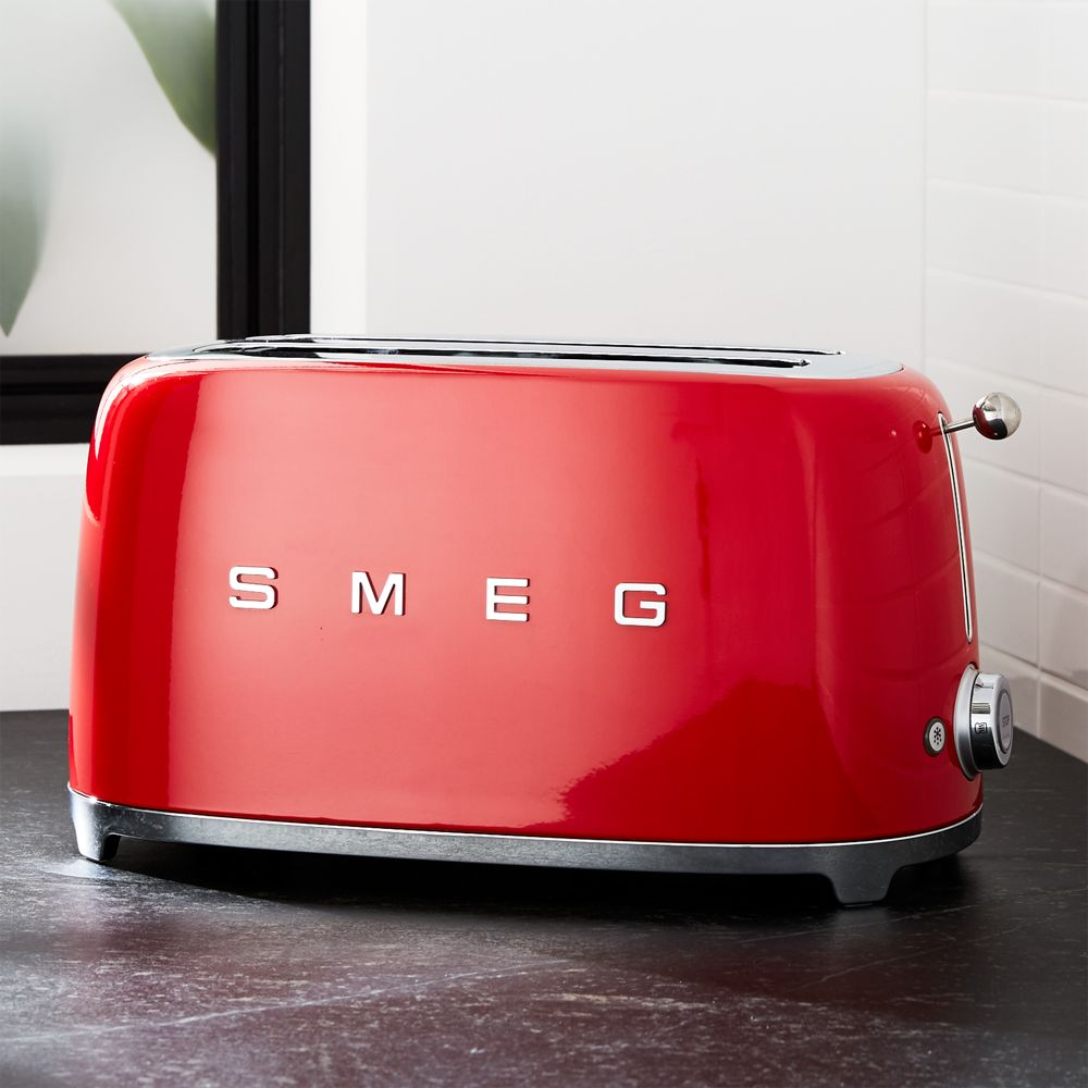 Smeg Red 4-Slice Retro Toaster - Crate and Barrel