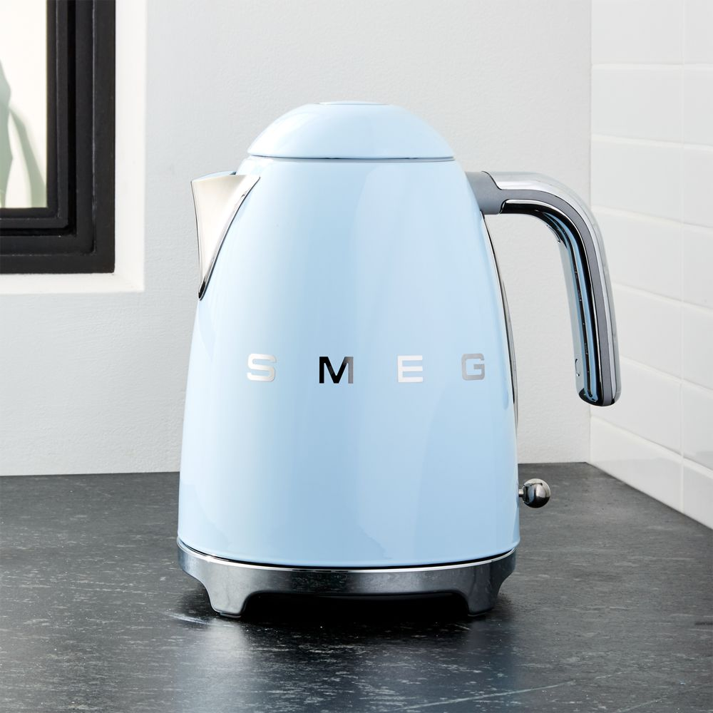 Smeg Pastel Blue Retro Electric Kettle - Crate and Barrel