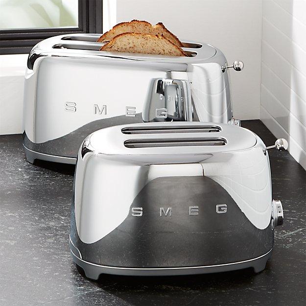 smeg silver retro toasters crate and barrel. Black Bedroom Furniture Sets. Home Design Ideas