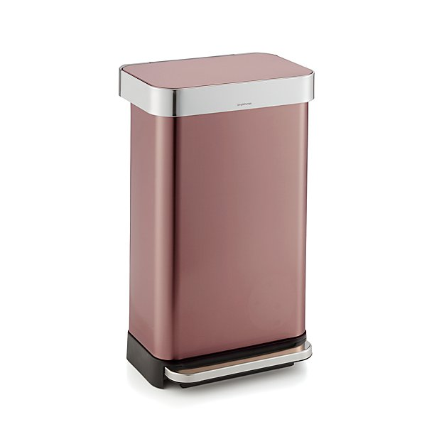 simplehuman 45 liter 12 gallon rose gold rectangular step can in trash cans reviews crate. Black Bedroom Furniture Sets. Home Design Ideas