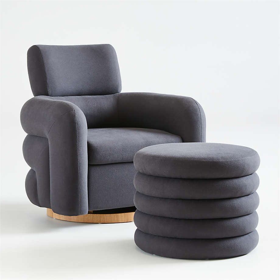 Viewing product image Snoozer Charcoal Glider and Ottoman