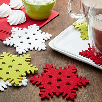 Snowflake Assorted Fabric Coasters Set of 6