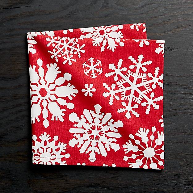 Snow Flurry Red Cloth Dinner Napkin