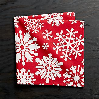 Snow Flurry Red Cloth Dinner Napkin