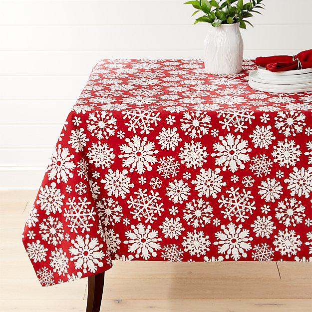 Snow Flurry Red Tablecloth