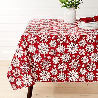 """Snow Flurry Red 60""""x120"""" Tablecloth"""