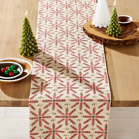 Snowflake Burst Embroidered Table Runner + Reviews | Crate and Barrel