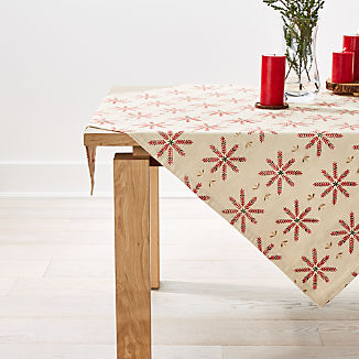"Snowflake Burst 90"" Embroidered Table Throw"