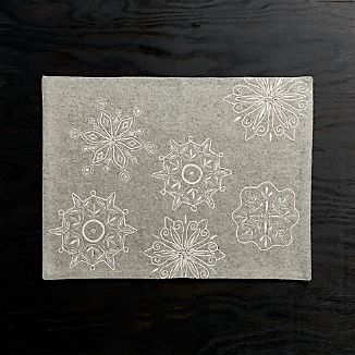 Snowflake Embroidered Felt Placemat
