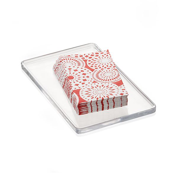 Glass Vanity Tray and Set of 16 Snowflake Guest Towels