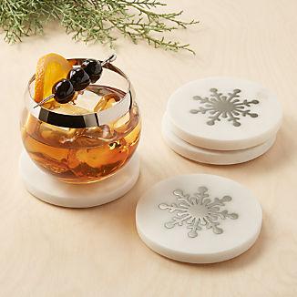 Marble Snowflake Coasters, Set of 4