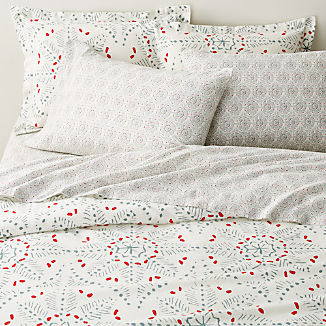 Organic Cotton Flannel Snowflake Duvet Covers and Pillow Shams