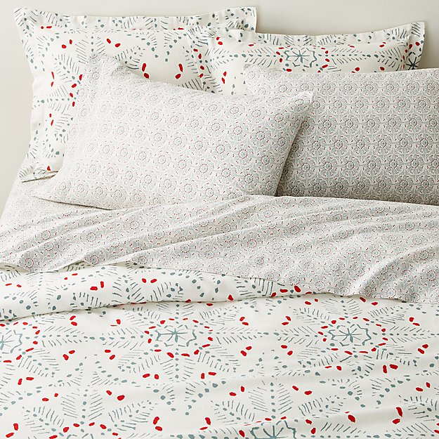 Organic Cotton Flannel Snowflake Duvet Covers and Pillow Shams - Image 1 of 3