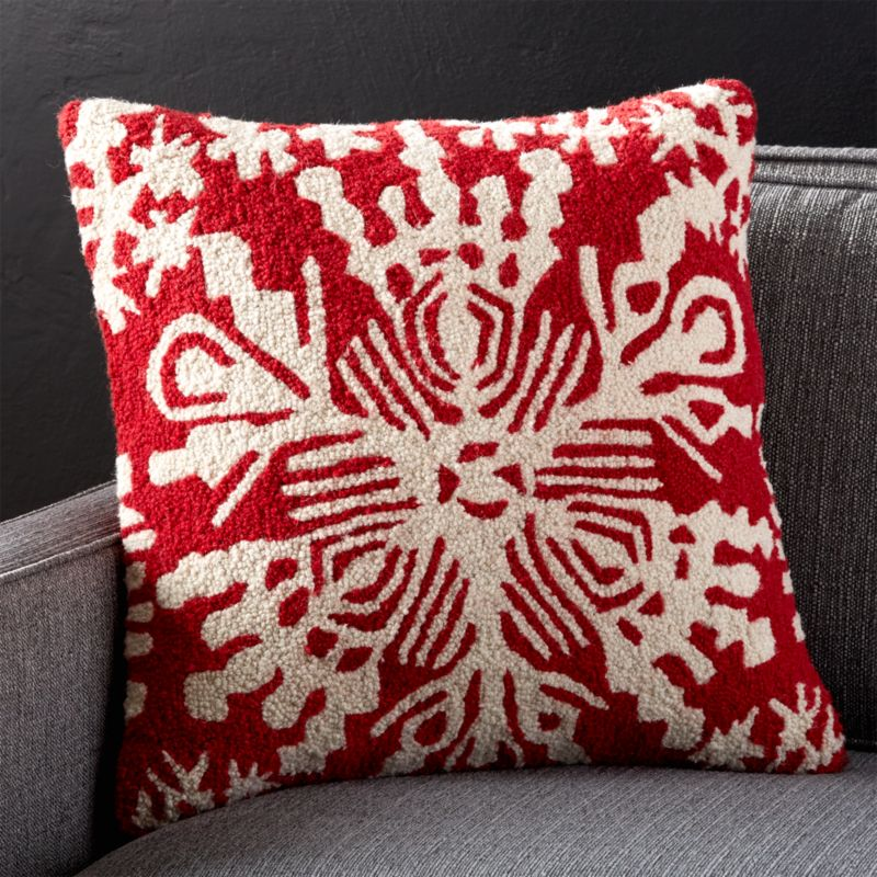 Red Snowflake Pillow With Feather Down Insert Crate And