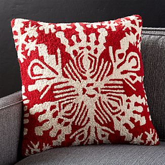 "Snowflake 18"" Pillow with Feather-Down Insert"