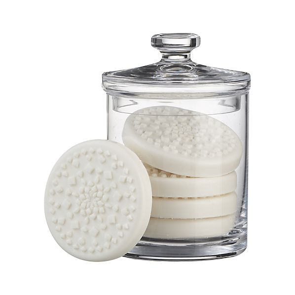 Glass Canister with Set of Five Snowflake Soaps