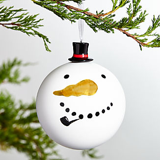 Snowman Ball Ornament with Ceramic Top Hat