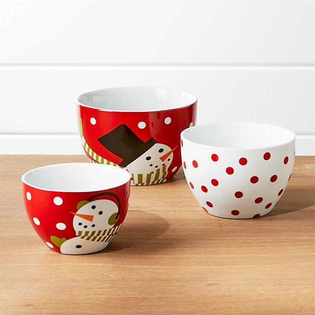 Snowman Bowls, Set of 3
